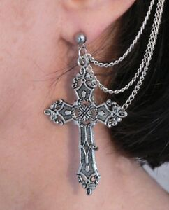 Gothic Cross Ear-Cuff Earring Goth Fantasy Cosplay Silver Plated Chains Gift