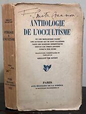 GRILLOT DE GIVRY - ANTHOLOGIE DE L'OCCULTISME 1922 PRINTING ERRORS, UNCUT PAGES