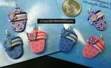 6 Fimo clay Flip Flop charms pendants earring 3 pair per lot 23mm GBS023