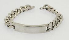 ♦♦ Armband MASSIV in 835er Silber mit Gravurplatte Flachpanzer ID Band Armkette