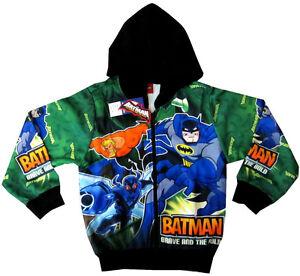 New BATMAN Boys vibrant green hooded sweatshirt jacket Size XL Age 7-8 yrs