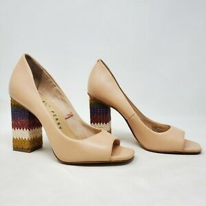 Katy Perry Womens Nude The Catie Chunky Open Toe Block Heels Size 36.5/US 6.5