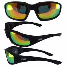 Kickback Motorcycle Sun Glasses-Thick Vented EVA Foam Padding-Red G-Tech Lens