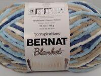 Bernat Blanket Yarn 6 Super Bulky Tan Brown blue Cloudy Sky Knit Crochet skein