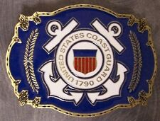 Military Belt Buckle Pewter U S Coast Guard emblem NEW - MADE IN THE U.S.A.