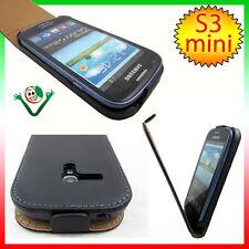 Custodia eco pelle NERA interno SCAMOSCIATO per Samsung Galaxy S3 mini i8190