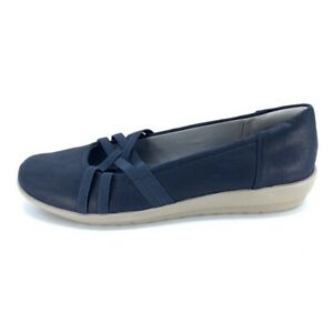 Easy Spirit Aubree Womens Comfort Flat Shoes Blue Straps Slip On Casual 7.5 M