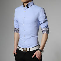 ST278 New Fashion Mens Luxury Casual Slim Fit Long sleeves Dress Shirts 6 Colors