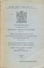 Livre Bleu Anglais n°1/Documents relations germano-polonaises/1939