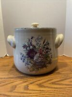 Beautiful Lg Bean Pot Stoneware Collection Floral Home & Garden Party Cookie Jar