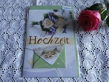 Elegante Glückwunschkarte Geldkarte Hochzeit Weiss Grün gold
