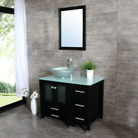 36inch Bathroom Vanity Plywood Cabinet Single Glass Vessel Sink Faucet&Drain Set