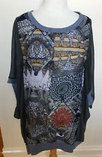GABRIELLA FRATTINI Grey Sheer Geometric Design Front Loose Batwing Sleeve Top 18