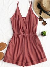 CUTE Womens Rolled Up Hem Cross Front Romper - Red Brick - S
