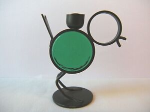 Ystad-Metall Iron Glass Bird Vintage 1960 MCM Candle Holder Gunnar Ander Sweden