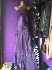 Full Length Purple Shot Satin Strappy Dress Size M 12 Perfect For Wedding Cruise