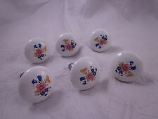 "SET of 6 Drawer Dresser Cabinet Pulls Knobs Handles 1.5"" Round White Flowers"