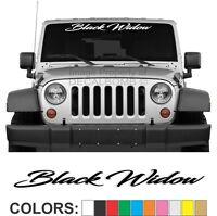 Black Widow Script Windshield Decal Sticker rzr diesel race drag spider turbo