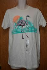Mens Ecru Flamingo Print Univibe Short Sleeve Tee Shirt Size Medium NWT NEW