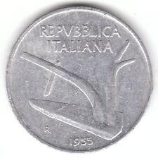 ITALIA 1955 10 LIRE IN ALLUMINIO Coin-Aratro e due orecchie di frumento