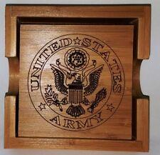 United States Army Bamboo Coaster Set With Holder