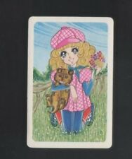 Swap Playing Cards 1 Japanese Nintendo Wide Eye Girl & Dog  A246
