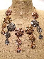 Womens Statement Multi Coloured Flower Bib Collar Chain Necklace Vintage UK