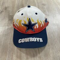 Vintage Annco Dallas Cowboys Snapback Hat On Fire RARE NFL Football White Cap