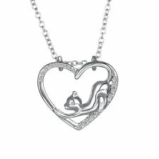 Women Black&white Cats Animal Heart Crystal Chain Leather Necklace Pendant F