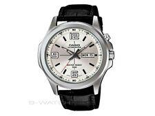 Casio MTP-E202L-7A Men's Illuminator Black Leather Band Silver Dial Dress Watch