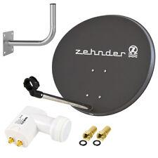 ZEHNDER Digitale Sat Anlage 60 cm Spiegel Twin LNB 0,1 Schüssel Wandhalter grau