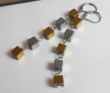Lange Würfel Ohrhänger beweglich in Hämatit gold + silber Edelstahl Ohr Brisur