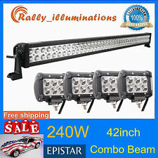 "HOT 42"" 240W COMBO LED LIGHT BAR SUV + 4X 18W CREE OFFROAD DRIVING LAMP CAR JEEP"