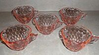 Vintage Jeannette HEX OPTIC Set of 5 Pink Depression Glass Coffee Tea Cups