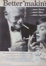 1959 Marlboro Cigarettes Old Man Tuxedo Young Woman Anchor Tattoo Smoking Ad