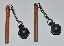 25727 Maza palo marrón cadena metálica 2u playmobil,medieval,mace,guerrero