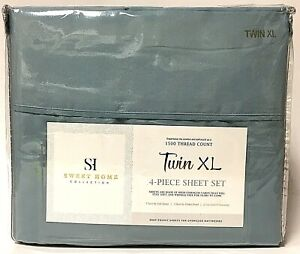 Sweet Home Collection Misty Blue Twin XL 4 Piece Sheet Set 1500 Thread Count