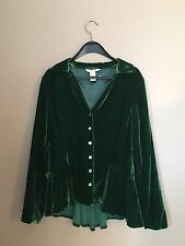 New Sundance Forrest Green Velvet Dream Peplum  Button Down Top Blouse Size 2
