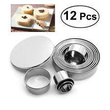 12pcs Round Stainless Steel Cake Biscuit Cookie Dough Cutter Mold Baking Tool