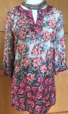 PAPAYA 12 vgc floral grey coral sequin neck longline tunic dress 3/4 sleeves