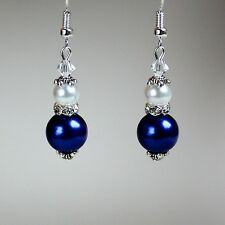 Midnight blue white pearls vintage silver drop earrings wedding bridesmaid gift