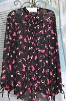 NEW Plus Size 2X Black Pink Red Floral Top Shirt Button Blouse $99