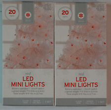 New! Lot of 2 Decor by Target Red Led Mini Lights 20 Lights Each Clear Wire