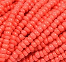 """Czech Glass Seed Beads Size 6/0 """" CORAL RED """" Strands"""