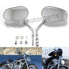 CHROME TAPERED TEARDROP REARVIEW SHORT STEM MIRRORS FOR HARLEY MOTORCYCLE CRUISE