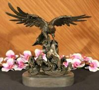 EAGLE ON WAVES REAL 100% BRONZE STATUE/SCULPTURE/FIGURINE FIGURE ART ARTWORK LRG