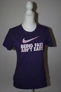 """Nike """"Being Fast Aint Easy"""" Graphic Tee Purple Youth Large (Women's Small) Shirt"""