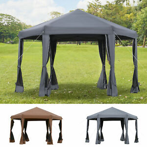 3.2m Pop Up Gazebo Hexagonal Canopy Tent Outdoor Mesh Sidewalls Bag