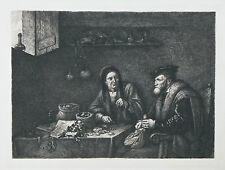"""""""The Money Changers"""" by G.W. Rhead Etching Signed in Plate 9 1/2""""x14"""""""