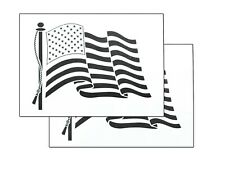 """2 PACK Spray Airbrush Painting Stencils Waving American US Flag LARGE 10x14"""""""